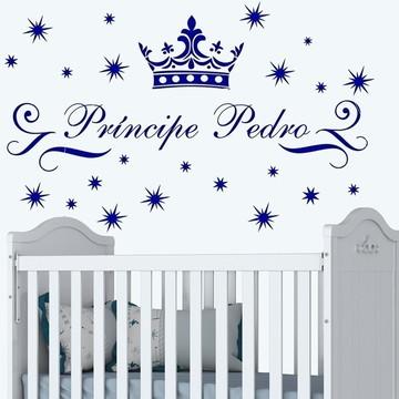 Adesivo Parede Quarto Infantil Príncipe Coroa + Nome Filho