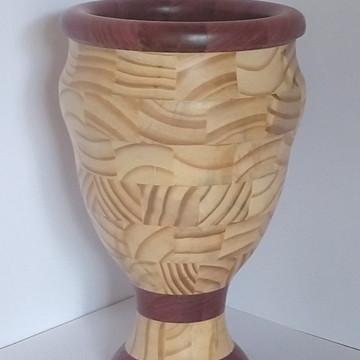 Vaso decorativo em madeira segmentado