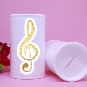 Cofrinho de plástico - foil - notas musicais clave de sol