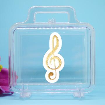 Maletinha de acrílico - foil - notas musicais clave de sol