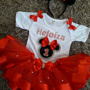 Fantasia luxo Minnie vermelha 1 A 8 anos
