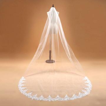 Véu de Noiva em Tule Francês Longo Branco Bordado 3mx1,5m