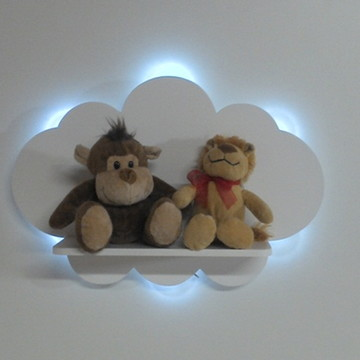 Prateleira nuvem com luz de led para paredes quarto bebe