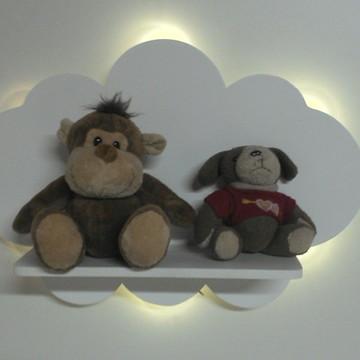 Prateleira nuvem com iluminação de luz de led branco quente
