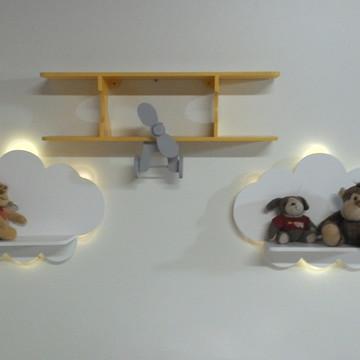 Kit 2 prateleira nuvem com luz de led + 1 prateleira avião