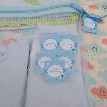 Saquinho Maternidade C/ Zíper Azul Bebê **Promoção** + TAG
