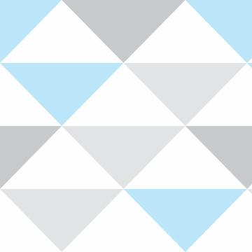 Papel de Parede Geometrico Azul Triangulo Lavavel 10m PPG292