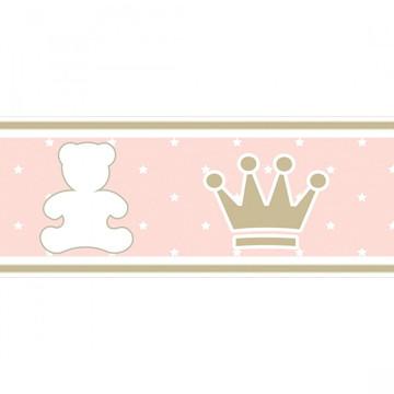Faixa Decorativa Adesivo Parede Quarto Bebê Menina Rosa