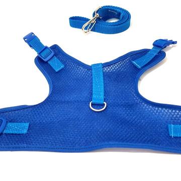 Colete peitoral para cachorro aerado azul tamanho G