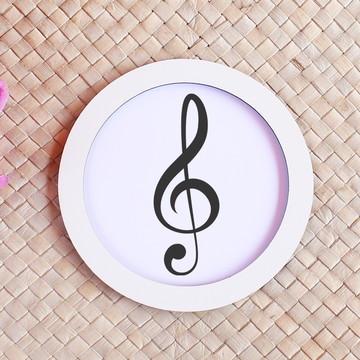 Placa/quadrinho com impressão - notas musicais clave de sol