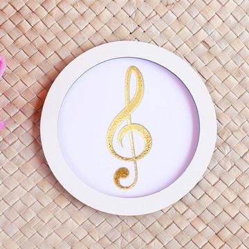 Placa/quadrinho - foil - notas musicais clave de sol