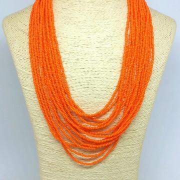 Maxi colar de miçanga laranja