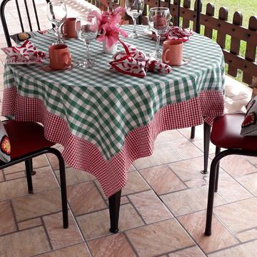 Toalha para Mesa Redonda xadrez verde