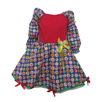 3ddc771a2 Vestido de Festa Junina Infantil Xadrez Vermelho e Azul | Elo7