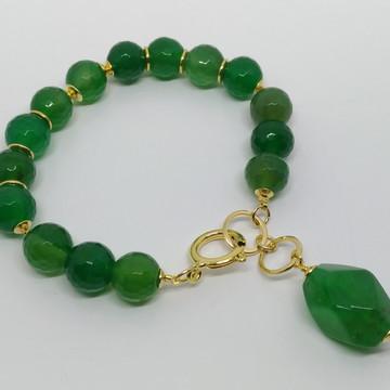 Pulseira Pedras Naturais - Ágata Verde- Semijoia