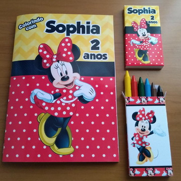 KIT colorir (revistinha + giz de cera) - Minnie Mouse