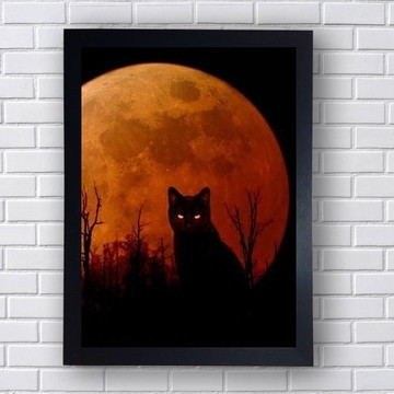 Quadro Poster Gato e Luar