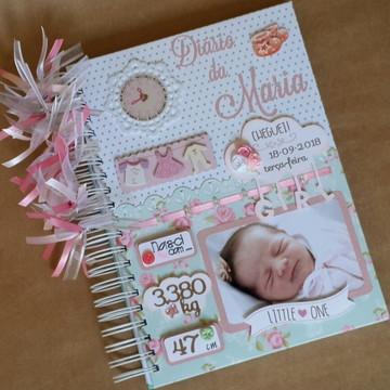 Diario do Bebê Menina Floral Rosa