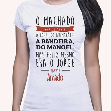 Camiseta Poetas Machado Bandeira Amado Feminina 1175
