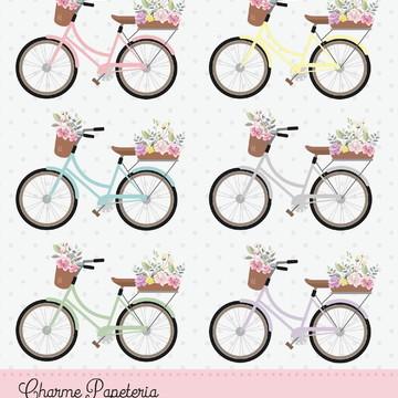 Clipart digital Bicicletas com cesta de flores