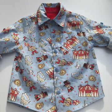 Camisa infantil manga longa estampa circo