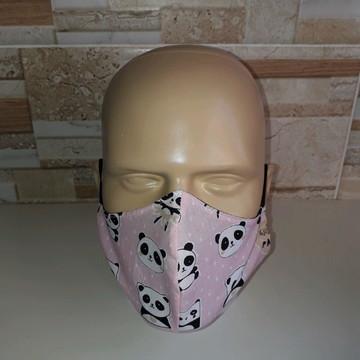 Máscara Cirúrgica Anatômica de tecido panda rosa