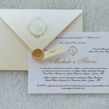 Convite de Casamento Tradicional dourado