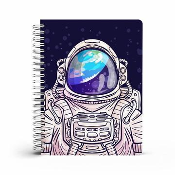 kit 2 cadernos universitario astronauta + bloco de anotacoe