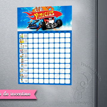Quadro do Incentivo Hot Wheels