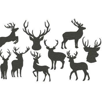 9 Bordados Cervo silhueta para bordar