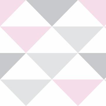 Papel parede Geometrico Triangulo Rosa Lavavel 10m PPG294
