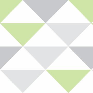 Papel parede Geometrico Triangulo Verde Lavavel 10m PPG297