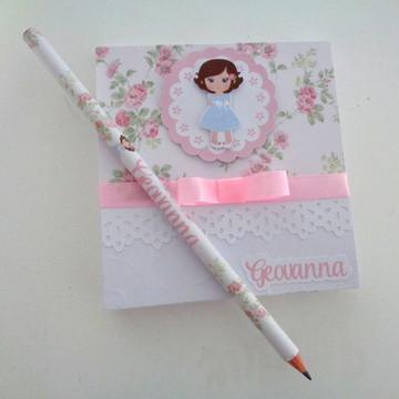 Bloco de notas personalizado com lápis