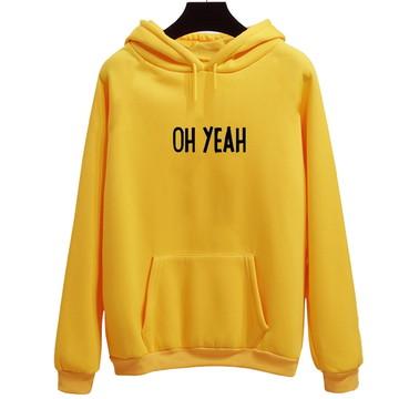 9e1451d08b Moletom Amarelo Canguru Oh Yeah Frase Tumblr Humor Fofo Top