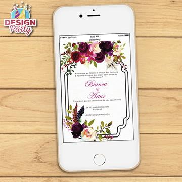 Convite Digital Floral Boho