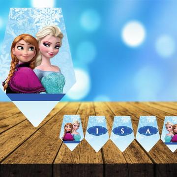 Bandeirola personalizado decoração Festa-Frozen