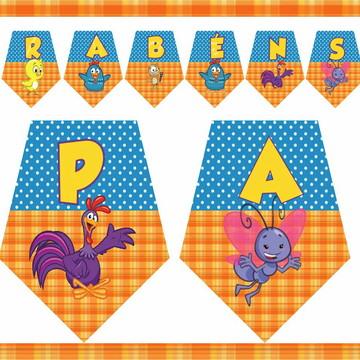Bandeirolas personalizada Decoração- Galinha Pintadinha