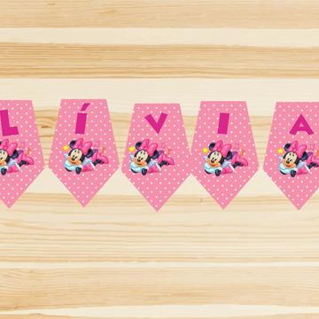 Bandeirola personalizado decoração Festa-Minnie