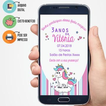 Convite Digital Unicórnio/ listras