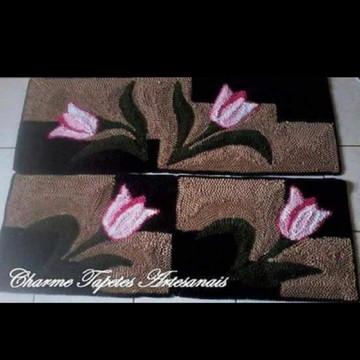 Jogo de tapetes para cozinha tulipas frufru