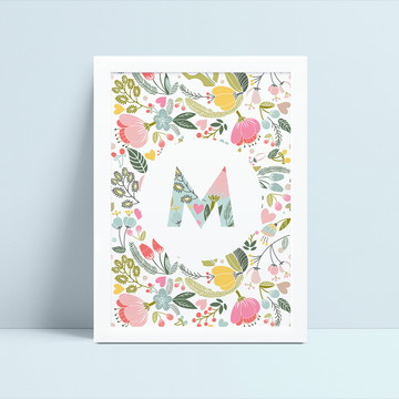 Arte Digital Personalizada Monograma Floral
