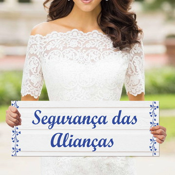 Plaquinhas para casamento - Segurança das alianças