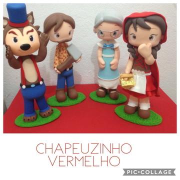 Kit Personagens Chapeuzinho Vermelho em Biscuit