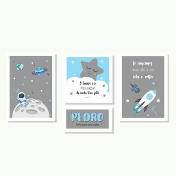Kit Quadros Menino Astronauta