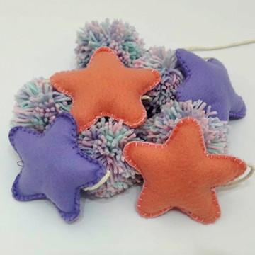 Varal/Móbile de Estrela e Pompom - Personalizado