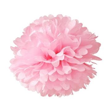 Pompom de Papel Seda Rosa Flor 25 Cm Decoração - 20 Unidades