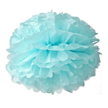 Pompom de Papel Seda Azul Flor 25 Cm Decoração - 20 Unidades
