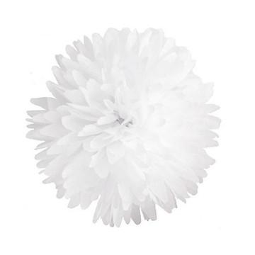 Pompom Papel Seda Branco 25 Cm Decoração Noivado 10 Unidades