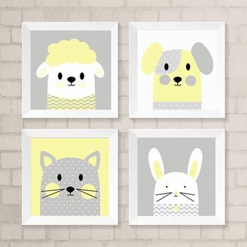 Quadro Moldura 20x20 -Amiguinhos ovelha/cachorro/gato/coelho