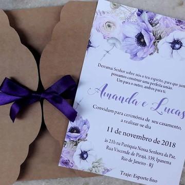 Convite de casamento Rustico lilas